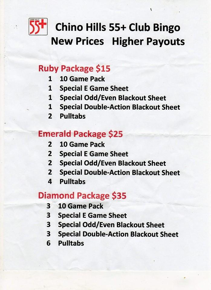 Bingo New Prices